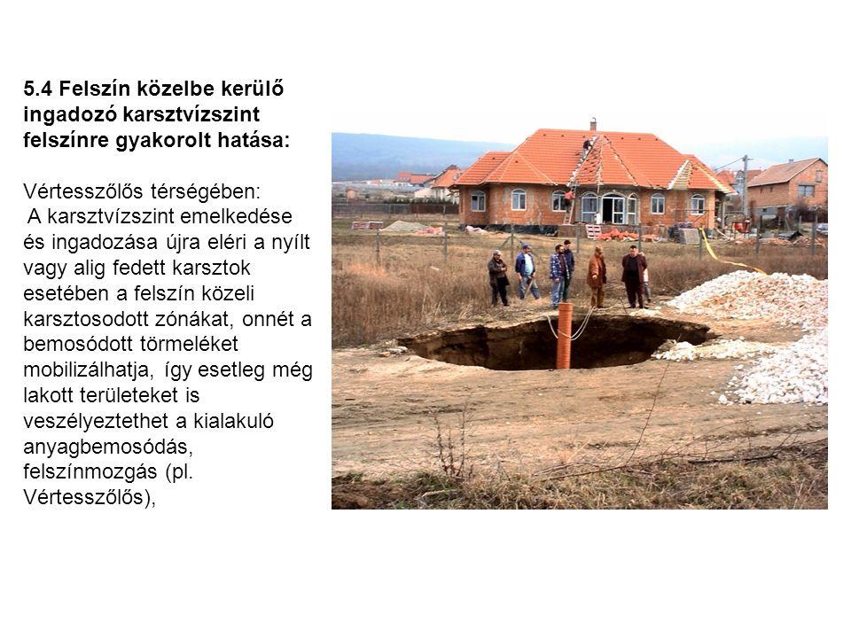 5.4 Felszín közelbe kerülő ingadozó karsztvízszint felszínre gyakorolt hatása: Vértesszőlős térségében: A karsztvízszint emelkedése és ingadozása újra