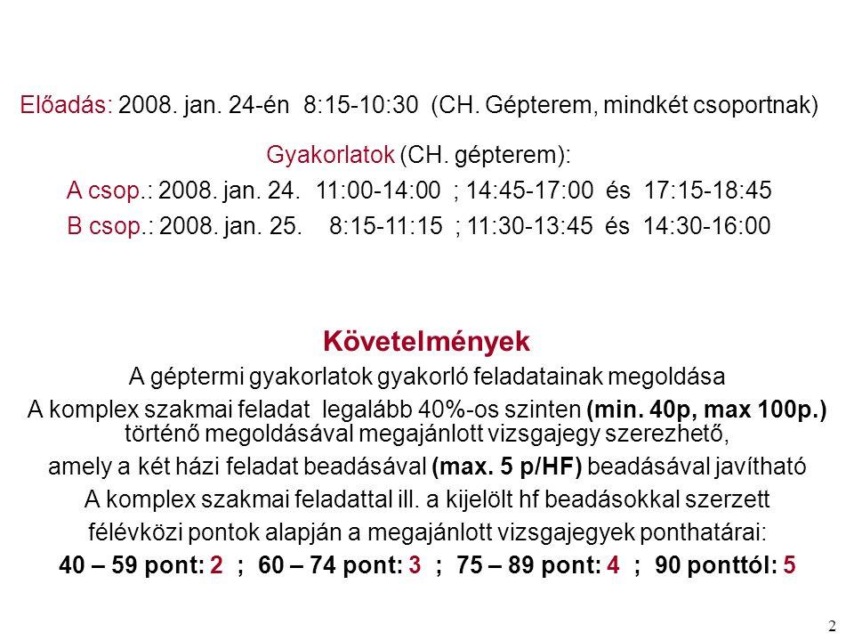 2 Előadás: 2008. jan. 24-én 8:15-10:30 (CH. Gépterem, mindkét csoportnak) Gyakorlatok (CH. gépterem): A csop.: 2008. jan. 24. 11:00-14:00 ; 14:45-17:0