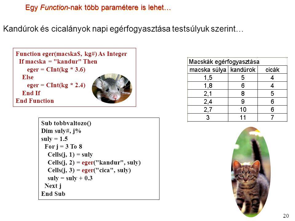 20 Egy Function-nak több paramétere is lehet… Sub tobbvaltozo() Dim suly#, j% suly = 1.5 For j = 3 To 8 Cells(j, 1) = suly Cells(j, 2) = eger( kandur , suly) Cells(j, 3) = eger( cica , suly) suly = suly + 0.3 Next j End Sub Function eger(macska$, kg#) As Integer If macska = kandur Then eger = CInt(kg * 3.6) Else eger = CInt(kg * 2.4) End If End Function Kandúrok és cicalányok napi egérfogyasztása testsúlyuk szerint…