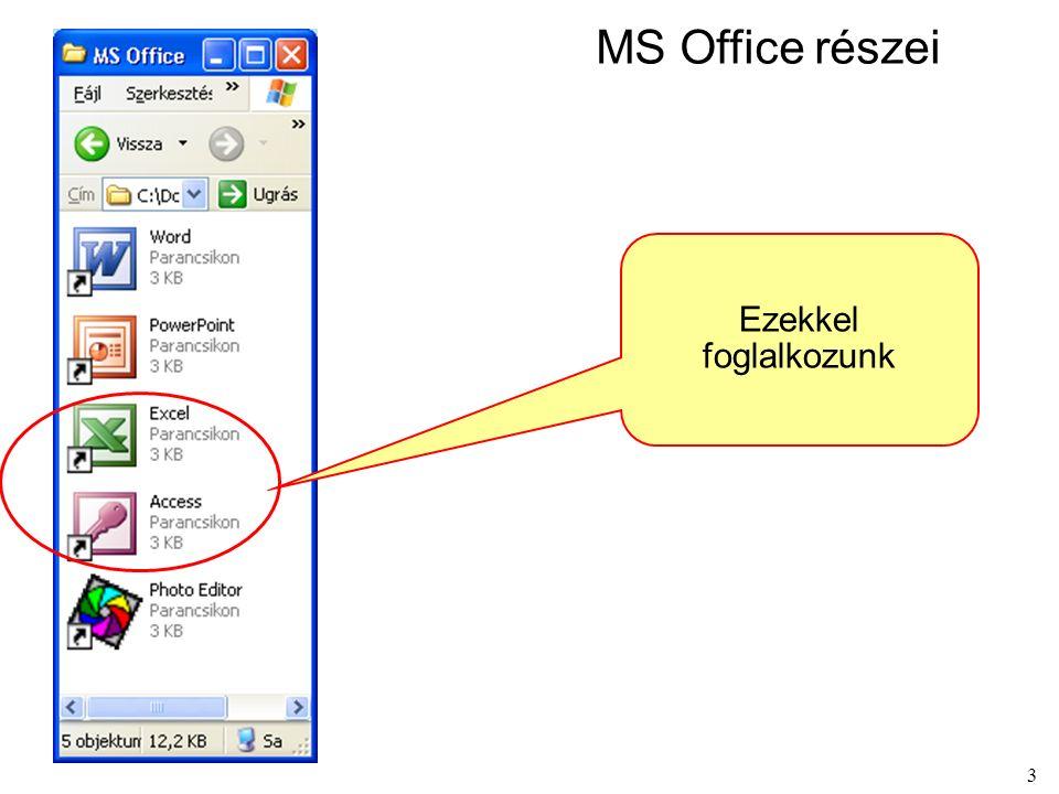 3 MS Office részei Ezekkel foglalkozunk