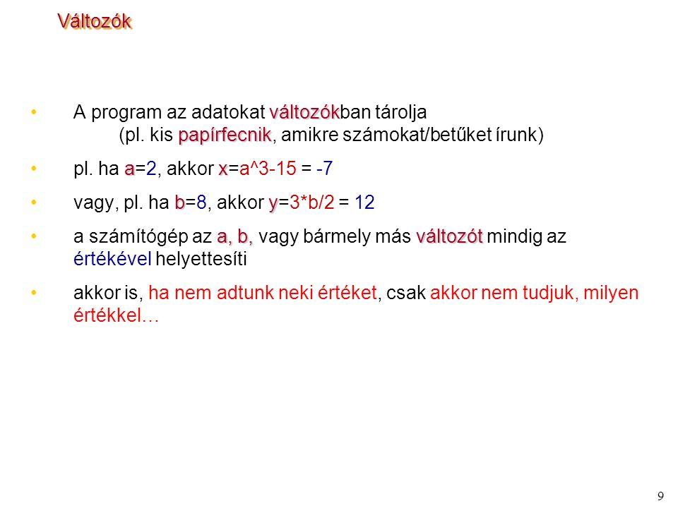 9 VáltozókVáltozók változókA program az adatokat változókban tárolja papírfecnik (pl. kis papírfecnik, amikre számokat/betűket írunk) axpl. ha a=2, ak
