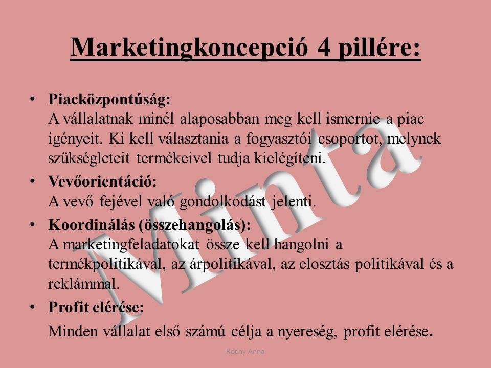 Marketingkoncepció 4 pillére: Piacközpontúság: A vállalatnak minél alaposabban meg kell ismernie a piac igényeit. Ki kell választania a fogyasztói cso