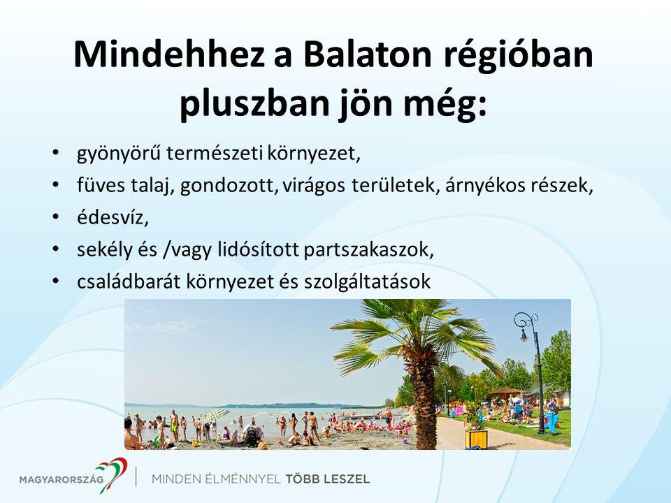 Mindehhez a Balaton régióban pluszban jön még: gyönyörű természeti környezet, füves talaj, gondozott, virágos területek, árnyékos részek, édesvíz, sekély és /vagy lidósított partszakaszok, családbarát környezet és szolgáltatások