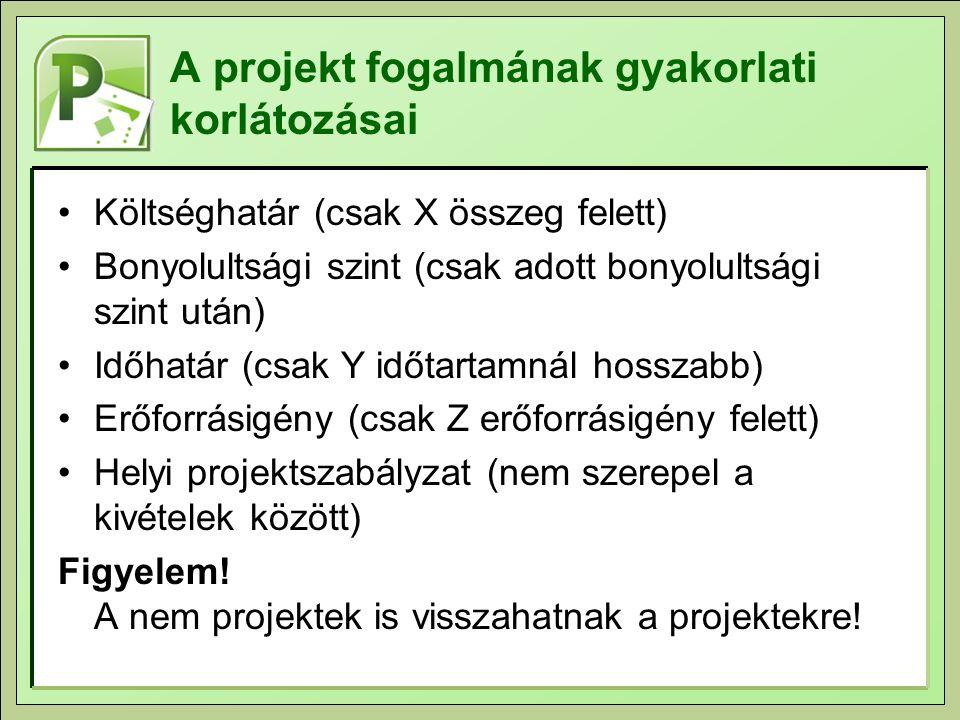 A projekt fogalmának gyakorlati korlátozásai Költséghatár (csak X összeg felett) Bonyolultsági szint (csak adott bonyolultsági szint után) Időhatár (csak Y időtartamnál hosszabb) Erőforrásigény (csak Z erőforrásigény felett) Helyi projektszabályzat (nem szerepel a kivételek között) Figyelem.