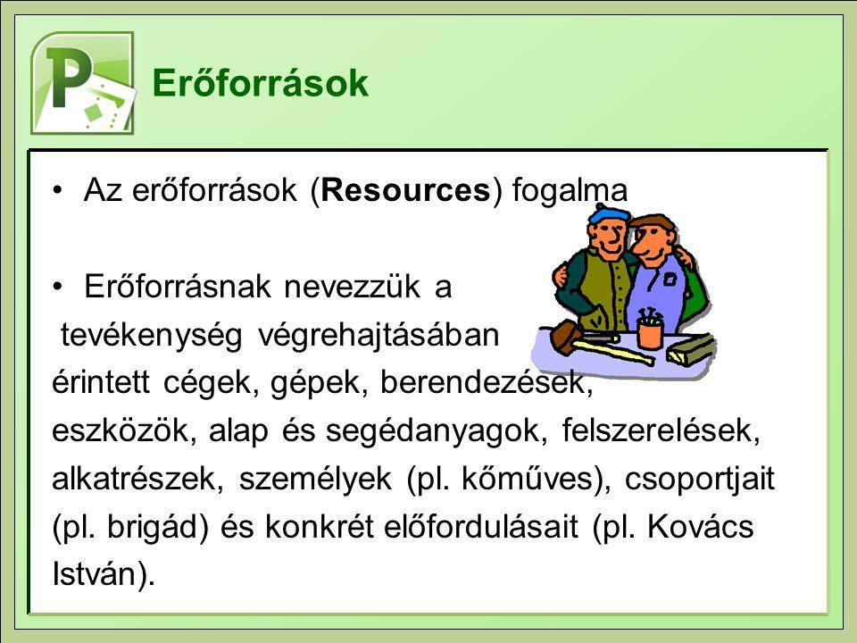 Az erőforrások (Resources) fogalma Erőforrásnak nevezzük a tevékenység végrehajtásában érintett cégek, gépek, berendezések, eszközök, alap és segédanyagok, felszerelések, alkatrészek, személyek (pl.