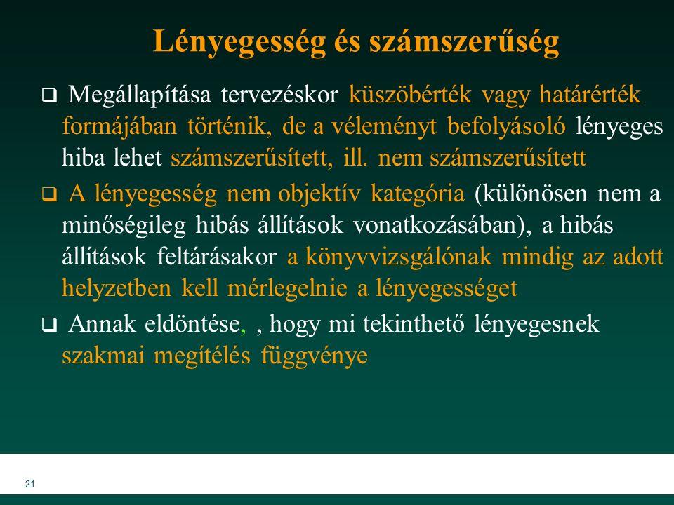 MKVK MEB 2007 21 Lényegesség és számszerűség  Megállapítása tervezéskor küszöbérték vagy határérték formájában történik, de a véleményt befolyásoló lényeges hiba lehet számszerűsített, ill.