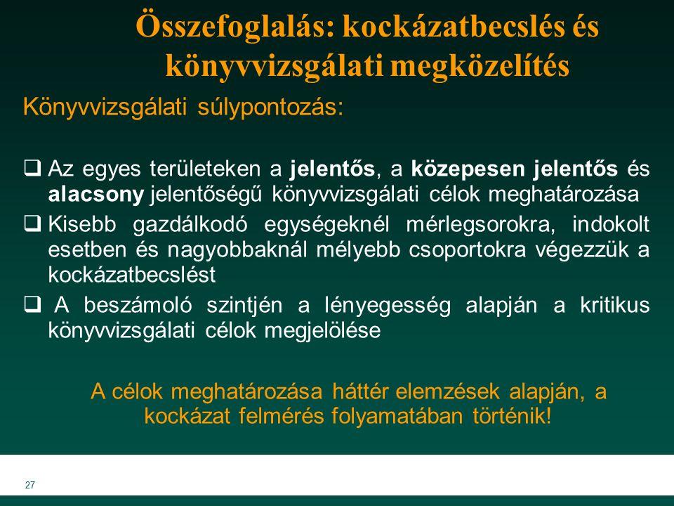 MKVK MEB 2007 27 Összefoglalás: kockázatbecslés és könyvvizsgálati megközelítés Könyvvizsgálati súlypontozás:  Az egyes területeken a jelentős, a közepesen jelentős és alacsony jelentőségű könyvvizsgálati célok meghatározása  Kisebb gazdálkodó egységeknél mérlegsorokra, indokolt esetben és nagyobbaknál mélyebb csoportokra végezzük a kockázatbecslést  A beszámoló szintjén a lényegesség alapján a kritikus könyvvizsgálati célok megjelölése A célok meghatározása háttér elemzések alapján, a kockázat felmérés folyamatában történik!