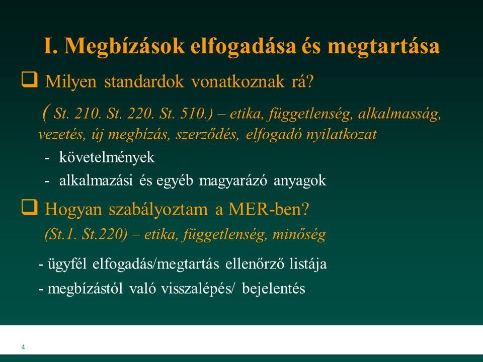 MKVK MEB 2007 45 Kötelező vizsgálati eljárások  Információk bekérése, külső megerősítések (St.505)  A könyvvizsgálónak kell meghatároznia, hogy a külső megerősítés szükséges-e a pénzügyi kimutatás bizonyos állításainak alátámasztását szolgáló elegendő és megfelelő bizonyíték beszerzéséhez, tekintettel a lényegességre, a kockázatokra és az egyéb bizonyítékokra  A visszaigazolások alkalmazási lehetőségei :  Követelések, Kötelezettségek, Bankszámlaegyenlegek, Hitelállomány, Idegen helyen tárolt készletek, Szerződések tartalma, értelmezése  A követelések visszaigazolásának folyamata: 1.