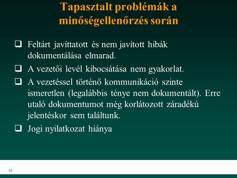 55 Tapasztalt problémák a minőségellenőrzés során  Feltárt javíttatott és nem javított hibák dokumentálása elmarad.