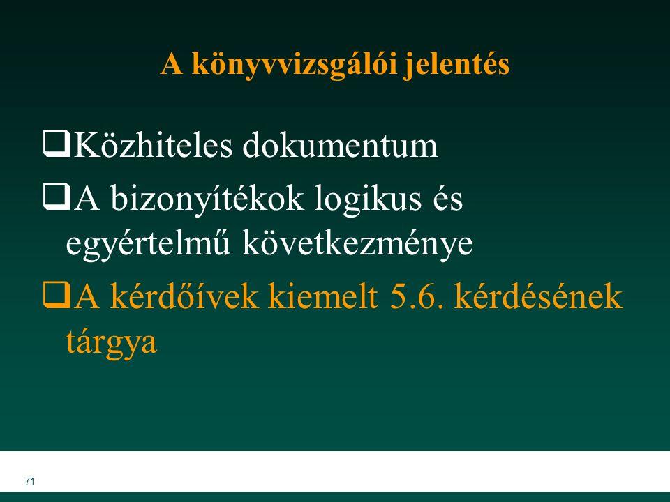 MKVK MEB 2007 71 A könyvvizsgálói jelentés  Közhiteles dokumentum  A bizonyítékok logikus és egyértelmű következménye  A kérdőívek kiemelt 5.6.