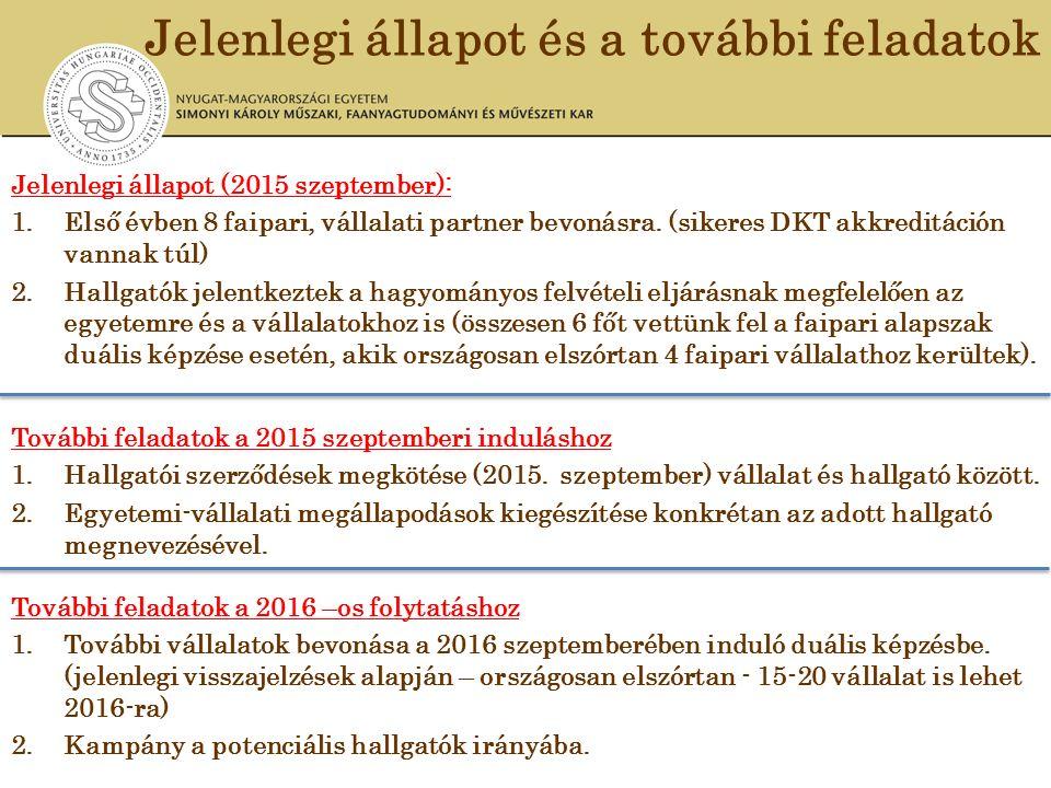 Jelenlegi állapot és a további feladatok Jelenlegi állapot (2015 szeptember): 1.Első évben 8 faipari, vállalati partner bevonásra. (sikeres DKT akkred