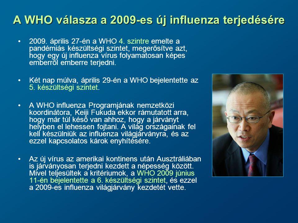 A múlt századi influenza pandémiákból levonható tanulságok Az influenza világjárványok kiszámíthatatlanok; A terjedési képesség és a súlyos megbetegedések előfordulása, valamint a meghozott intézkedések hatékonysága határozza meg elsősorban a világjárvány össztársadalmi következményeinek súlyosságát; Epidemiológiai módszerekkel a járványhullámok azonosíthatók és jól követhetők; A járványügyi intézkedések lassíthatják a járvány terjedését, de nem állíthatják meg; A járvány terjedésének lassítása azonban jelentős kedvező hatással bír pl.