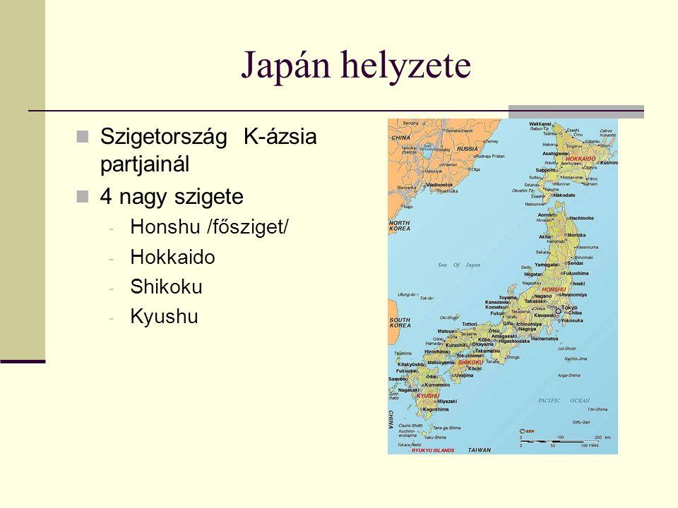 Japán helyzete Szigetország K-ázsia partjainál 4 nagy szigete - Honshu /fősziget/ - Hokkaido - Shikoku - Kyushu