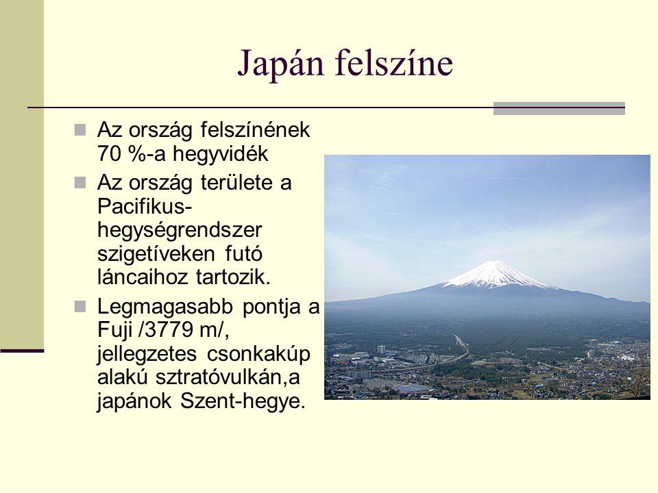 Japán felszíne Az ország felszínének 70 %-a hegyvidék Az ország területe a Pacifikus- hegységrendszer szigetíveken futó láncaihoz tartozik. Legmagasab