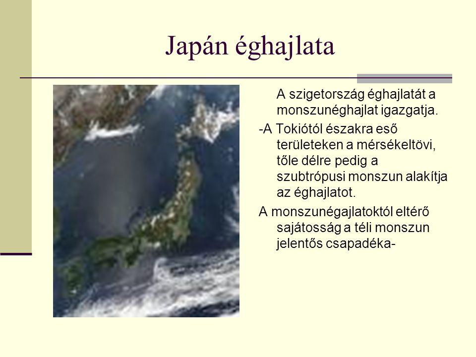 Japán éghajlata A szigetország éghajlatát a monszunéghajlat igazgatja. -A Tokiótól északra eső területeken a mérsékeltövi, tőle délre pedig a szubtróp