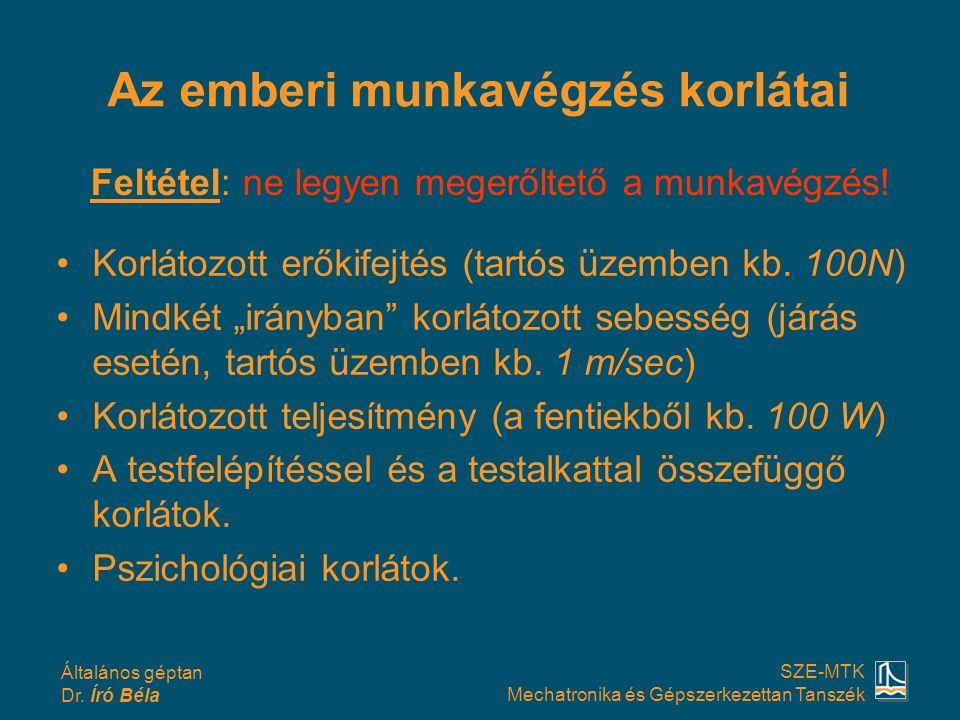 Általános géptan Dr. Író Béla SZE-MTK Mechatronika és Gépszerkezettan Tanszék Az emberi munkavégzés korlátai Korlátozott erőkifejtés (tartós üzemben k