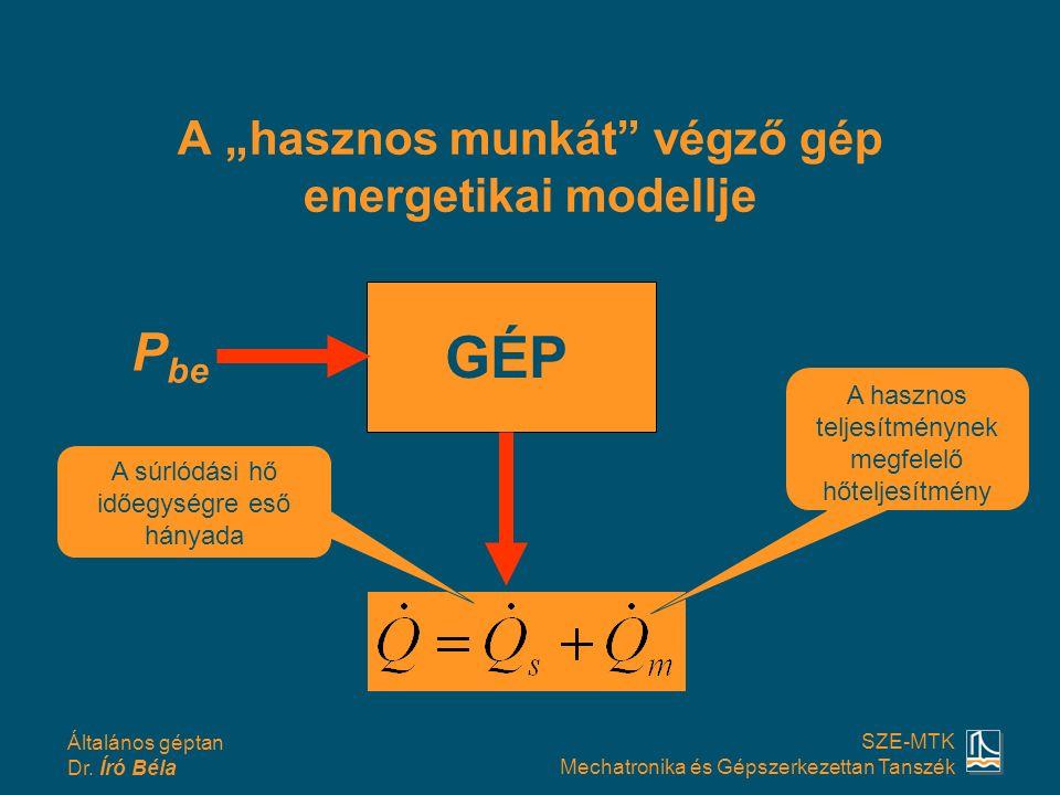 """Általános géptan Dr. Író Béla SZE-MTK Mechatronika és Gépszerkezettan Tanszék A """"hasznos munkát"""" végző gép energetikai modellje P be GÉP A súrlódási h"""