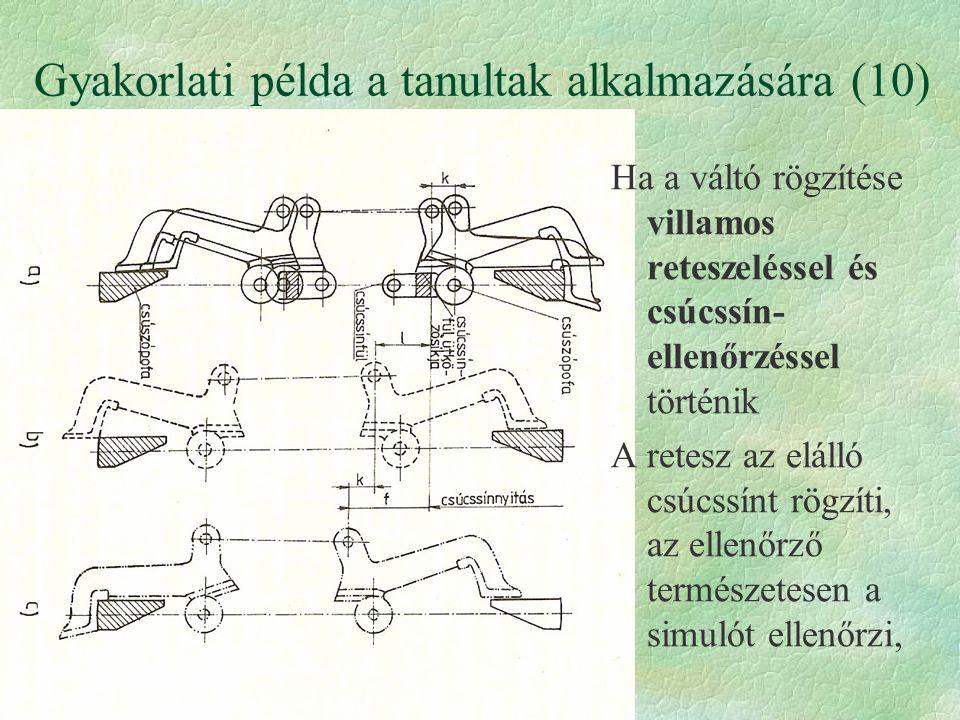 Gyakorlati példa a tanultak alkalmazására (10) Ha a váltó rögzítése villamos reteszeléssel és csúcssín- ellenőrzéssel történik A retesz az elálló csúc
