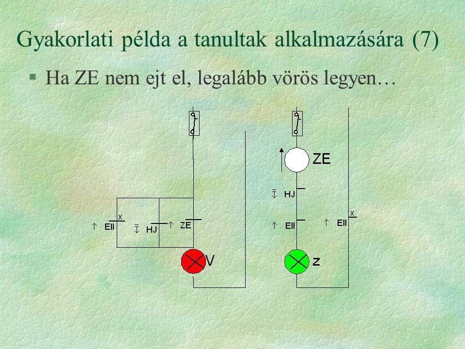 Gyakorlati példa a tanultak alkalmazására (7) §Ha ZE nem ejt el, legalább vörös legyen…