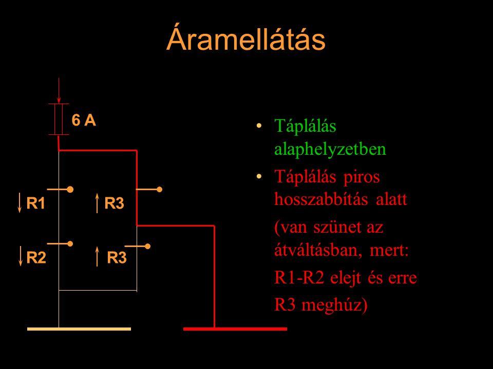 Áramellátás Táplálás alaphelyzetben Táplálás piros hosszabbítás alatt (van szünet az átváltásban, mert: R1-R2 elejt és erre R3 meghúz) 6 A R1 R2 R3 Ré