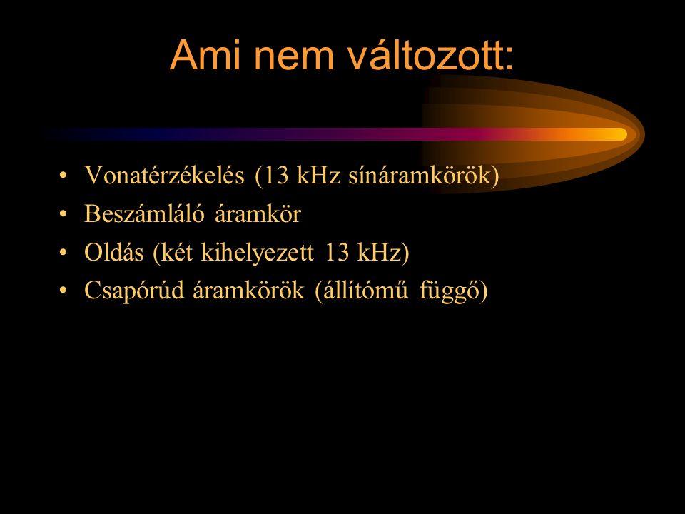 Működtetés A 13 kHz foglalt lesz Ismétlők átváltanak D1 elejt (M és ZAVAR F ág) M elejt Fehér fények lekapcsolódnak és a piros fények kivezérlődnek ZAVAR V ág felépül 13 kHz felszabadul Ismétlők visszaváltanak E1 elejt A1 B1 D1 E1 Rétlaki Győző: Vonali sorompó