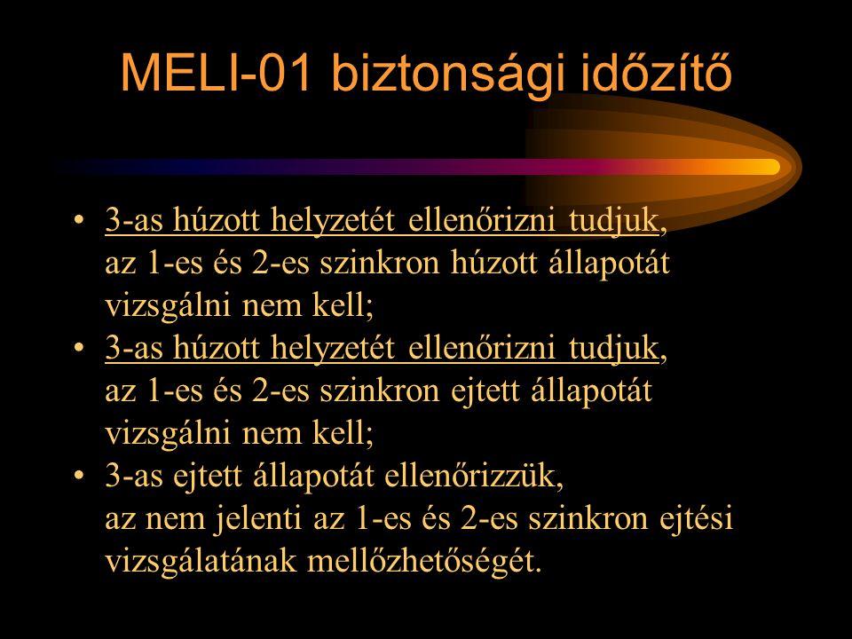 MELI-01 biztonsági időzítő 3-as húzott helyzetét ellenőrizni tudjuk, az 1-es és 2-es szinkron húzott állapotát vizsgálni nem kell; 3-as húzott helyzet