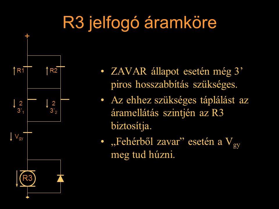 """R3 jelfogó áramköre ZAVAR állapot esetén még 3' piros hosszabbítás szükséges. Az ehhez szükséges táplálást az áramellátás szintjén az R3 biztosítja. """""""