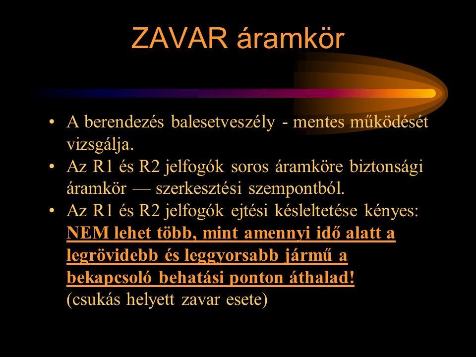 ZAVAR áramkör A berendezés balesetveszély - mentes működését vizsgálja. Az R1 és R2 jelfogók soros áramköre biztonsági áramkör — szerkesztési szempont
