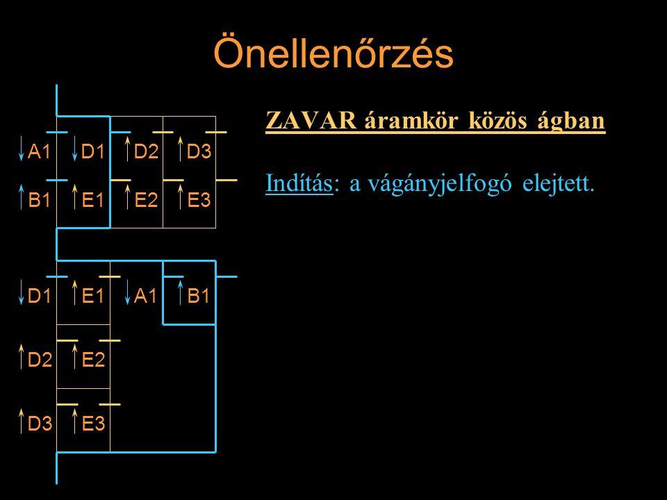 Önellenőrzés ZAVAR áramkör közös ágban Indítás: a vágányjelfogó elejtett. A1 B1 D1 E1 D2D3 E3E2 D1E1A1B1 D2E2 D3E3 Rétlaki Győző: Vonali sorompó