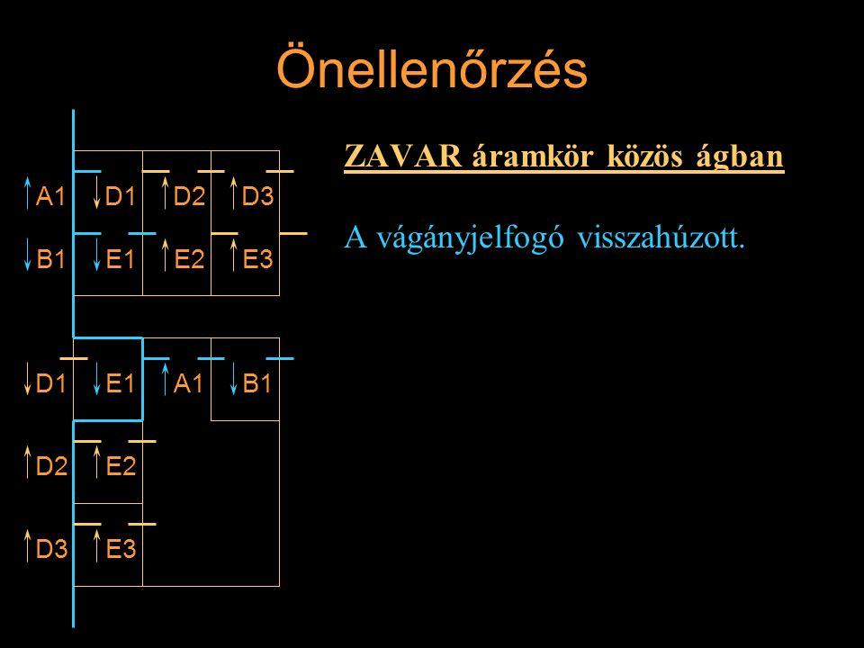 Önellenőrzés ZAVAR áramkör közös ágban A vágányjelfogó visszahúzott. A1 B1 D1 E1 D2D3 E3E2 D1E1A1B1 D2E2 D3E3 Rétlaki Győző: Vonali sorompó