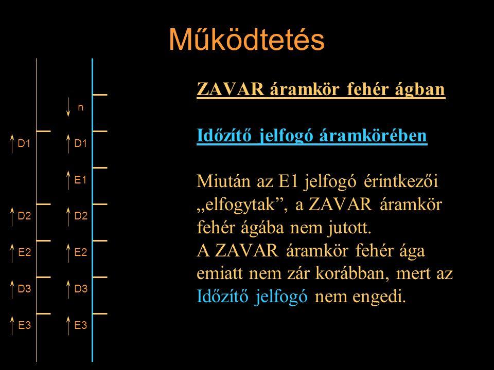 """Működtetés ZAVAR áramkör fehér ágban Időzítő jelfogó áramkörében Miután az E1 jelfogó érintkezői """"elfogytak"""", a ZAVAR áramkör fehér ágába nem jutott."""