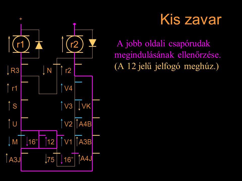 """Kis zavar A jobb oldali csapórudak megindulásának ellenőrzése. (A 12 jelű jelfogó meghúz.) r1 R3 r1 S U M A3J 16""""12 7516"""" A4J A3BV1 V2A4B VKV3 V4 r2N"""