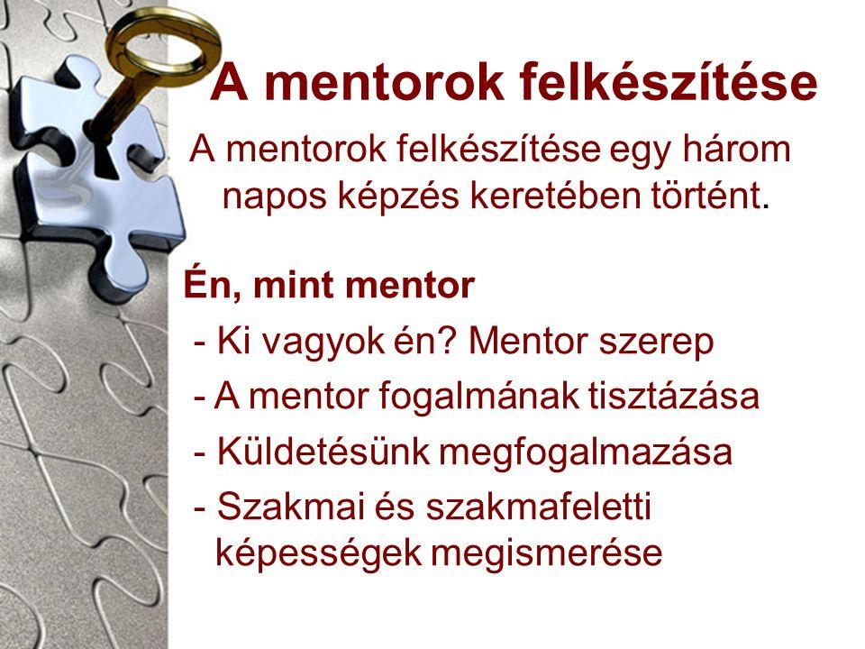 A mentorok felkészítése A mentorok felkészítése egy három napos képzés keretében történt.