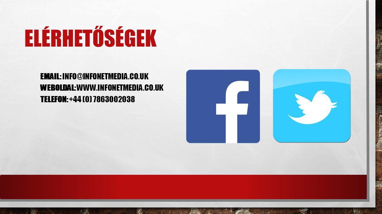 ELÉRHETŐSÉGEK EMAIL: INFO@INFONETMEDIA.CO.UK WEBOLDAL: WWW.INFONETMEDIA.CO.UK TELEFON: +44 (0) 7863002038