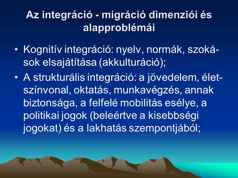 Szociális integráció: kapcsolati hálók kiépítése a bevándorló társakkal (belső integráció), a helyi lakosokkal (szocietális integráció), a rokonokkal, barátokkal, kollégákkal,szomszédokkal Emocionális integráció (azonosulás): etnikai csoporthoz illetve a fogadó társadalomhoz való tartozás érzésének kialakulása, részvétel a politikai folyamatokban