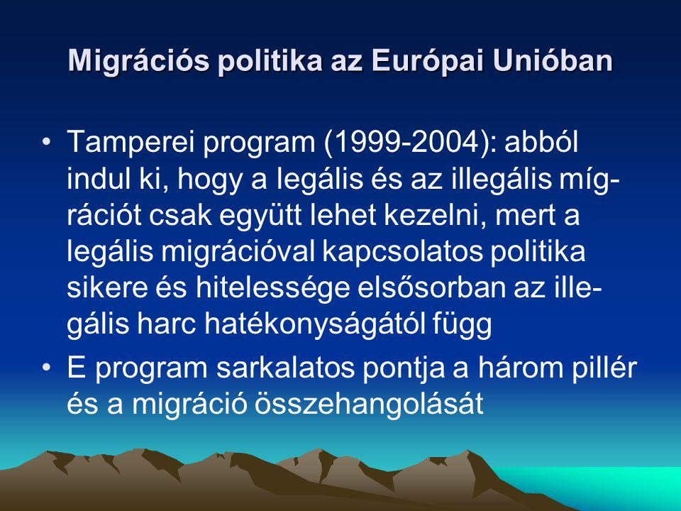 A Tamperei Program végrehajtásában elfogadott főbb jogi aktusok A családegyesítés irányelv megkönnyíti a csa- ládegyesítést, mely alapfeltétele a migránsok társadalmi integrációjának A huzamosabb idejű tartózkodás irányelv az Unióban huzamosabb idejű tartózkodási enge- déllyel rendelkező harmadik országbeli állam- polgárok jogállásáról szól.