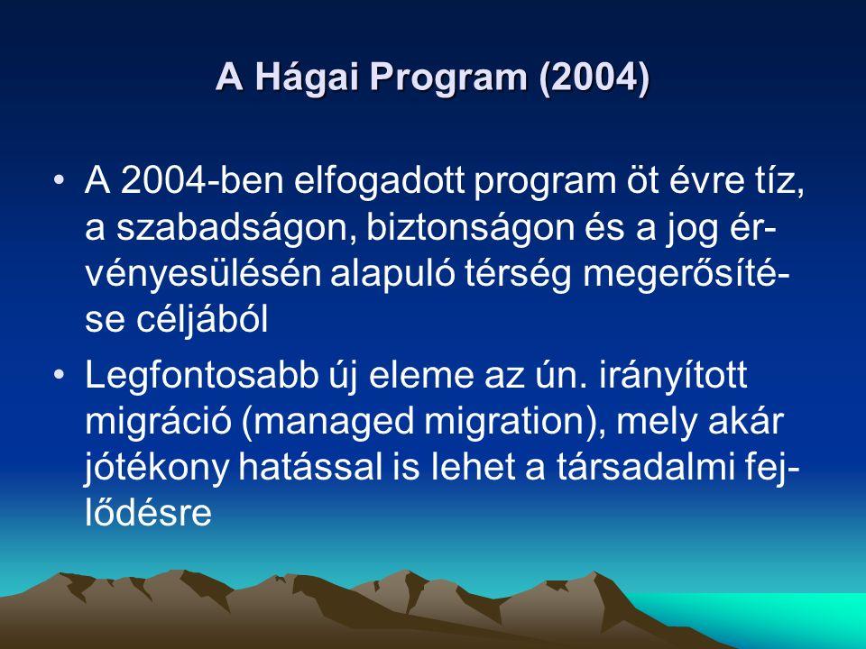 A Hágai Program legfontosabb prioritásai A migrációs folyamatok kezelése: A migráció komplex megközelítése (ok – okozat – beilleszkedés – visszatérés) Legális migráció és a tudásalapú társada- lom, gazdaság megerősítése A harmadik országokkal fenntartott part- neri kapcsolatok erősítése a migráció területén