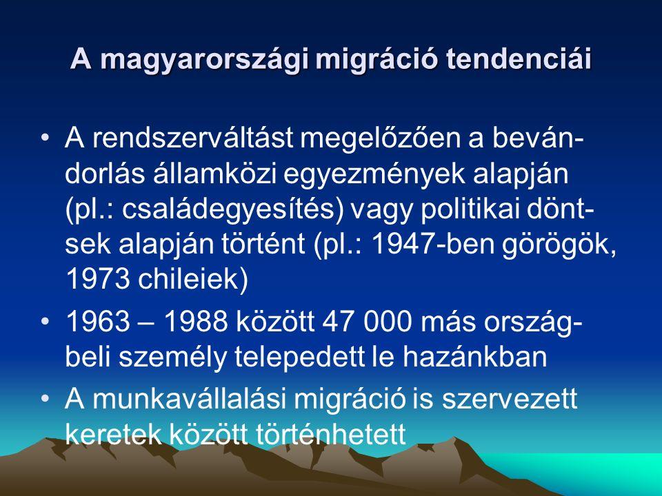 A magyarországi bevándorlás – mind a beván- dorlók számát, mind a teljes lakosságra számí- tott arányát tekintve – európai összehasonlítás- ban szerénynek mondható A rendszerváltás körüli évek igen erőteljes bevándorlása a kilenc- venes évek közepére alacsonyabb szinten stabilizálódott A z ezredforduló előtt újra növekedésnek indult, de nem érte el kezdeti méretét Magyarország a migrációban tranzitország