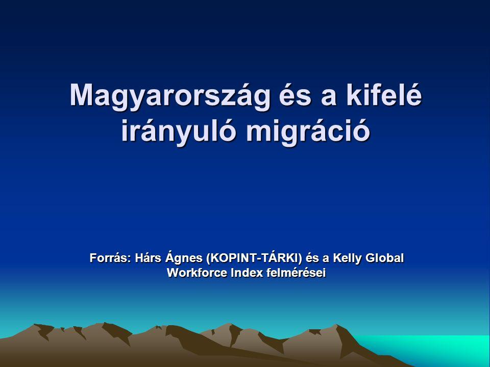 Magyarok munkaerő-piaci migrációja az EU csatlakozás után Munkavállalási tényezők: - bér és jövedelemviszonyok - szociális biztonság - hazai munkanélküliség - szakmai tapasztalatszerzés - kutatás, fejlesztés transzferek - etnikai kérdések