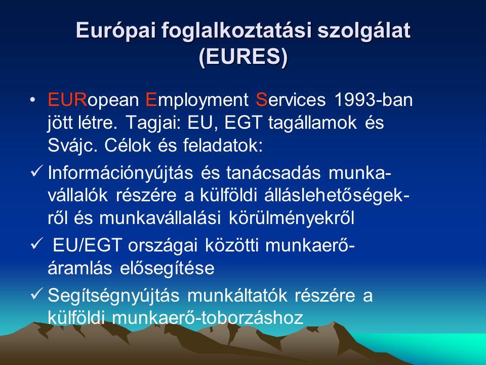 Jogszabályi háttér: 1612/68/EGK Tanácsi Rendelet 2003/8/EK Bizottsági Döntés EURES Alapokmány (2003) EURES Irányelvek – Guidelines (3 évre szól) Az EURES működésének pillérei: URES adatbázisok (álláshely-, önéletrajz-, információs) Technikai háttér (hálózat) eures.europa.eu EURES tanácsadók (hálózat) 31 tagállamban mintegy 1000 fő EU-támogatás a tervek megvalósításához