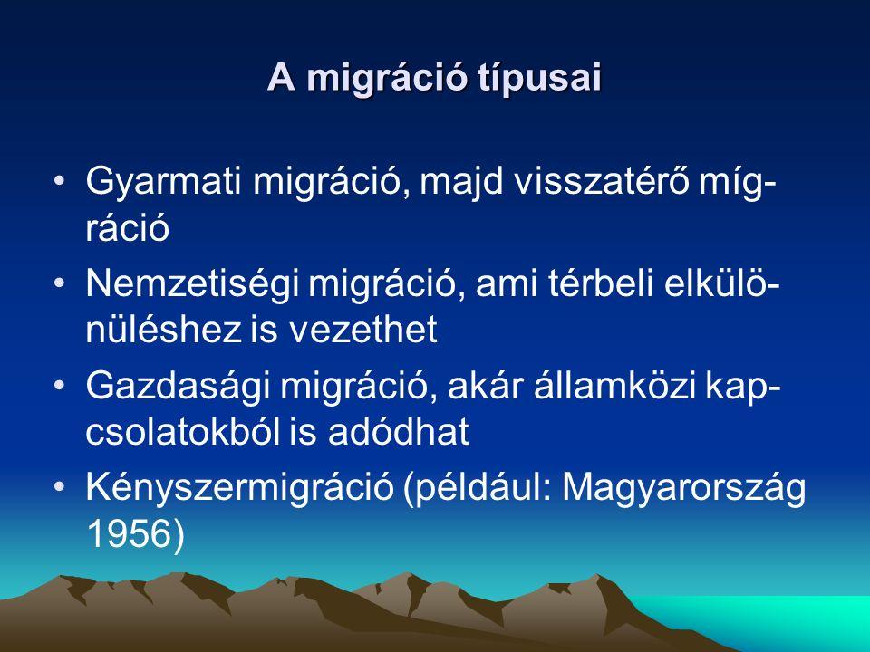 A migrációt előidéző tényezők Szétestek a multikulturális és többnemze- tiségű birodalmak Tudományos, technikai forradalom hatá- sára kialakult ipari termelési mód, modern világgazdasági rendszer Háborúk, etnikai konfliktusok, a kisebbsé- gek fenyegetettsége