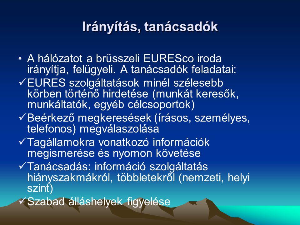 Segítségnyújtás külföldi munkaerő toborzásához Tagállamok munkaerőpiacának megfelelő ismerete EURES rendezvények (lakossági fórum, információs nap) szervezése, más eseményeken történő részvétel EURES asszisztensek munkájának koordinálása, folyamatos tájékoztatásuk Kapcsolattartás más tagállamok EURES tanácsadóival Szemináriumokon, konferenciákon részvétel EURES kiadványok tervezése, megalkotása, frissítése