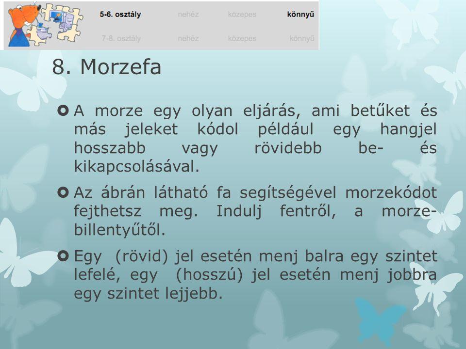 8. Morzefa  A morze egy olyan eljárás, ami betűket és más jeleket kódol például egy hangjel hosszabb vagy rövidebb be- és kikapcsolásával.  Az ábrán