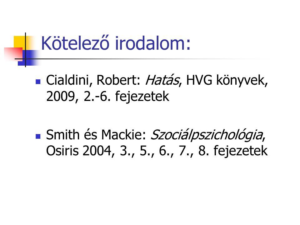 Kötelező irodalom: Cialdini, Robert: Hatás, HVG könyvek, 2009, 2.-6.
