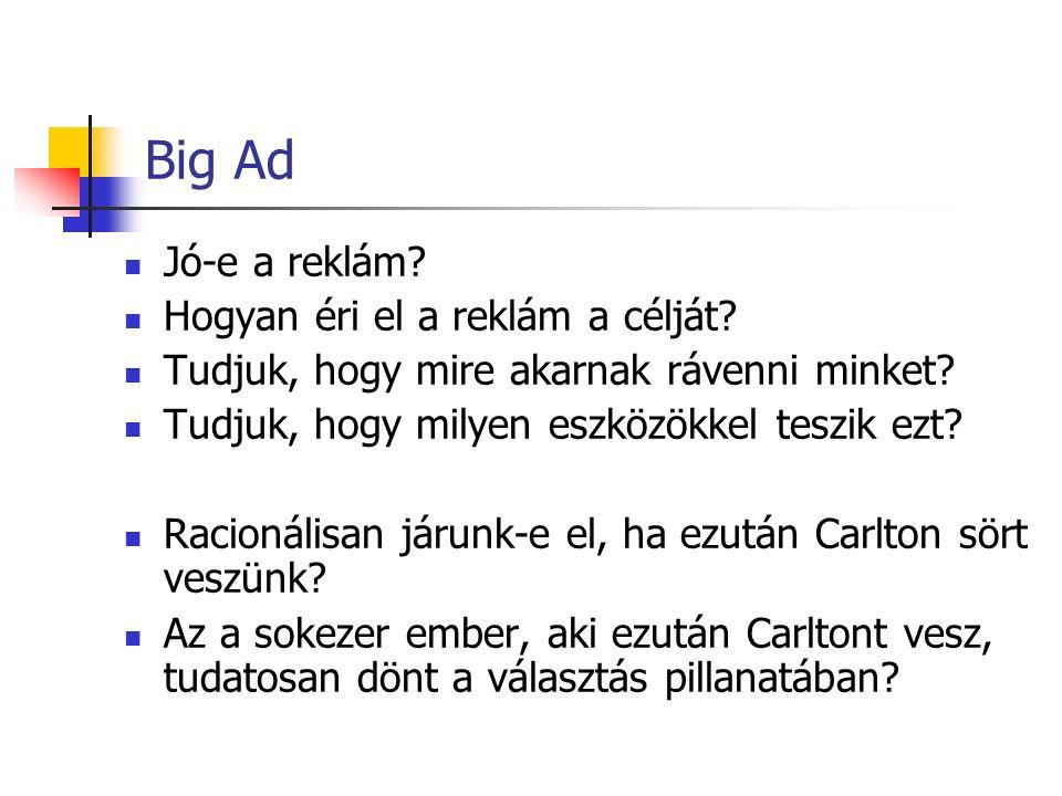 Big Ad Jó-e a reklám. Hogyan éri el a reklám a célját.