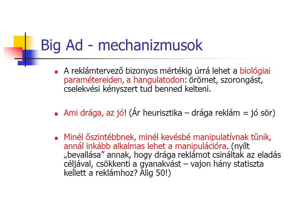 Big Ad - mechanizmusok A reklámtervező bizonyos mértékig úrrá lehet a biológiai paramétereiden, a hangulatodon: örömet, szorongást, cselekvési kényszert tud benned kelteni.