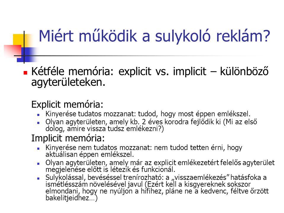 Miért működik a sulykoló reklám. Kétféle memória: explicit vs.
