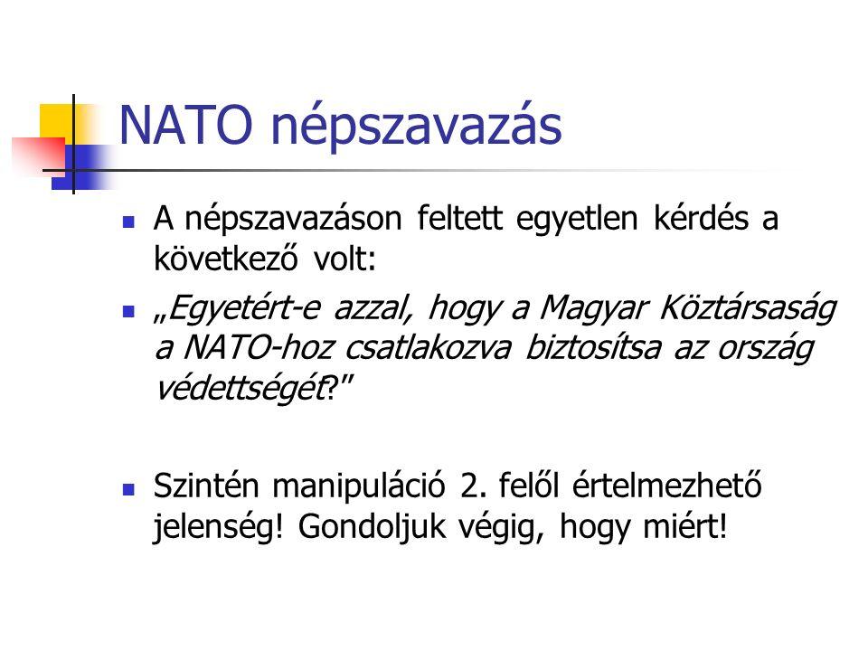 """NATO népszavazás A népszavazáson feltett egyetlen kérdés a következő volt: """"Egyetért-e azzal, hogy a Magyar Köztársaság a NATO-hoz csatlakozva biztosítsa az ország védettségét Szintén manipuláció 2."""