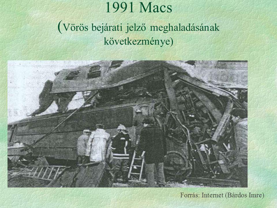 1991 Macs ( Vörös bejárati jelző meghaladásának következménye) Forrás: Internet (Bárdos Imre)