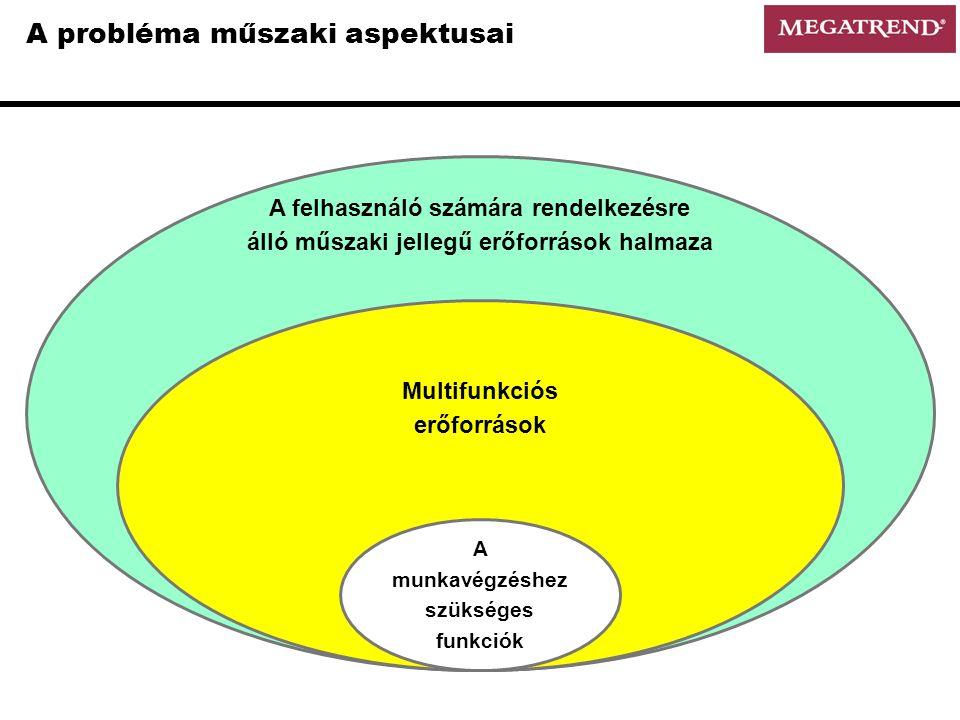 A felhasználó számára rendelkezésre álló műszaki jellegű erőforrások halmaza A probléma műszaki aspektusai Multifunkciós erőforrások A munkavégzéshez